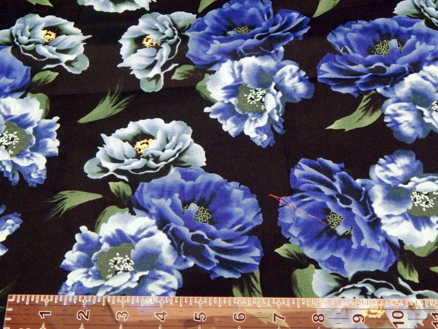 Blue floral black background cotton fabric by the yard for Cotton fabric by the yard